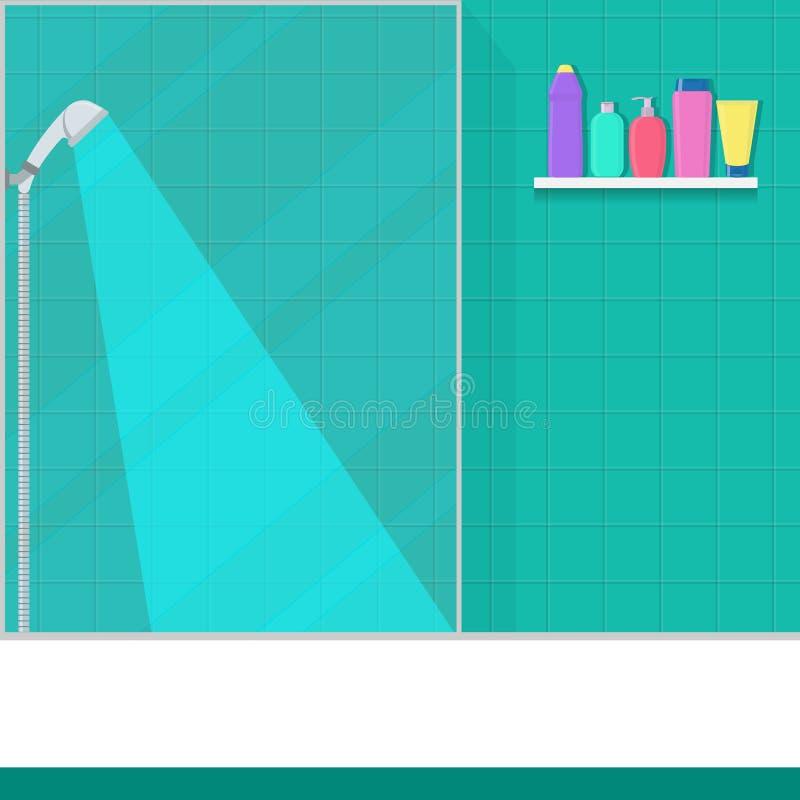 Salle de bains mignonne dans la carlingue plate de douche de style, douche, étagère avec du savon, shampooing, conditionneur Illu illustration stock