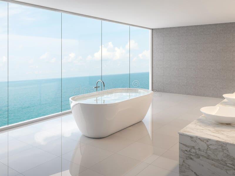 Salle de bains minimale de grenier avec la vue 3d de mer rendre illustration de vecteur