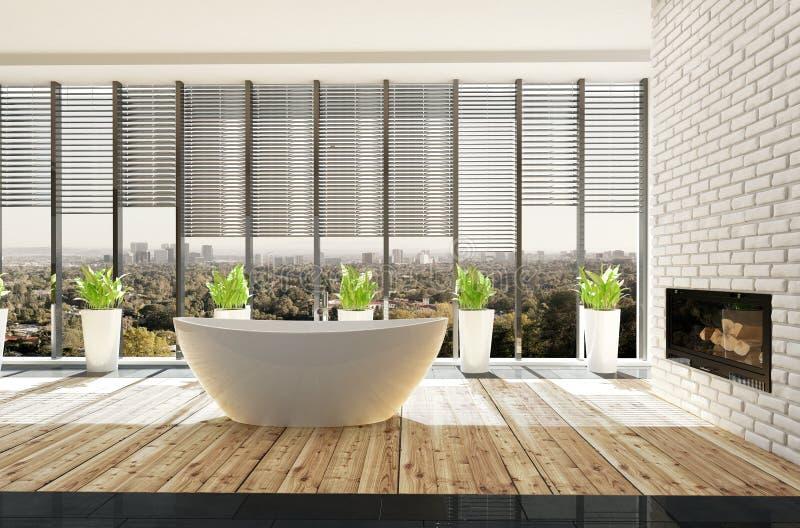 Salle de bains minimaliste élégante avec les usines mises en pot illustration libre de droits