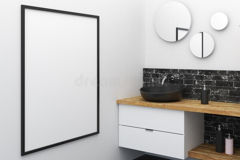 Salle de bains moderne avec l'affiche vide illustration stock