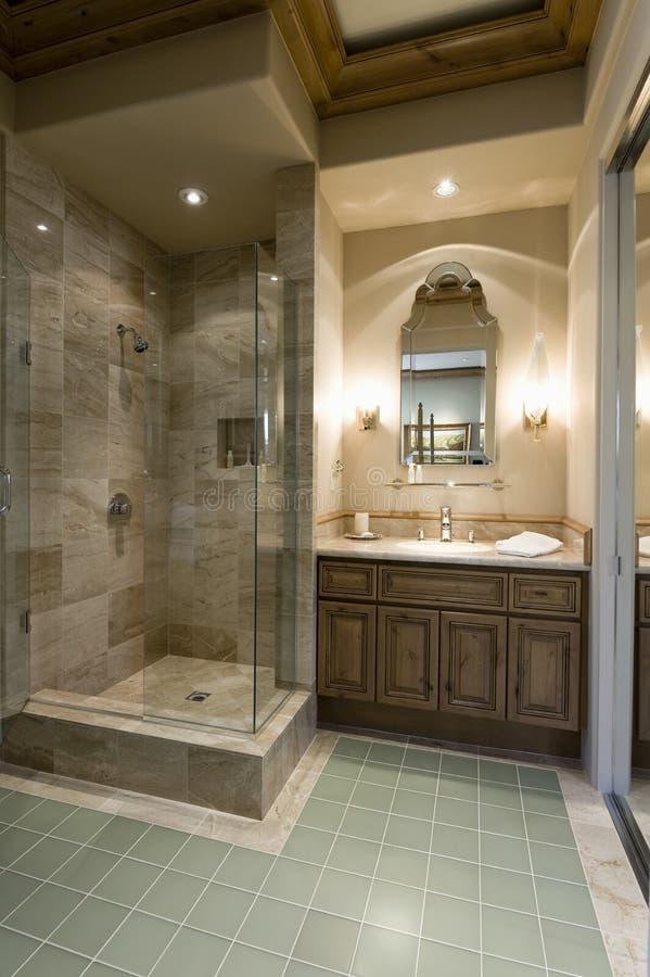 Salle de bains moderne avec le compartiment de douche image libre de droits