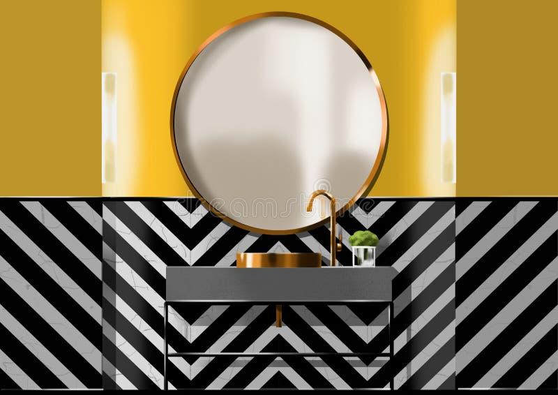 Salle de bains moderne avec le modèle d'arête de poisson, peinture d'illustration photographie stock libre de droits