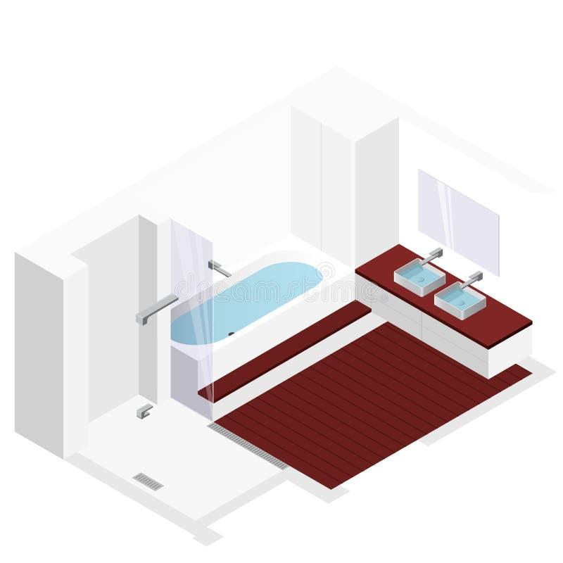 salle de bains moderne avec le plancher en bois dans la. Black Bedroom Furniture Sets. Home Design Ideas