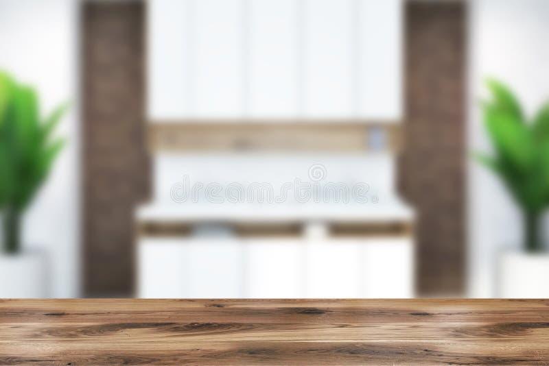 Salle de bains moderne de brique intérieure, tache floue de double évier photo stock