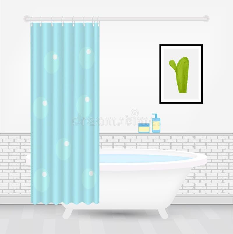 Salle de bains moderne confortable intérieure avec le rideau lumineux, bathtube moderne, image de cactus, produits d'hygiène dans illustration libre de droits