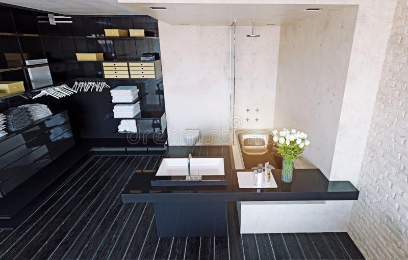 Salle de bains moderne de grenier illustration libre de droits