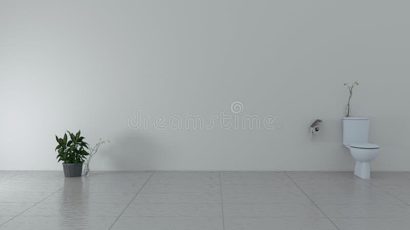 Salle de bains moderne de tuile blanche rendu 3d illustration libre de droits