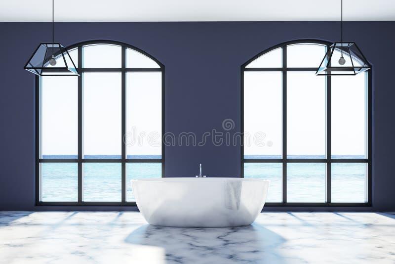 Salle de bains noire, plancher de marbre blanc illustration libre de droits
