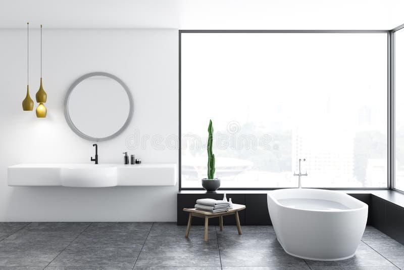 Salle de bains panoramique, baquet blanc et évier illustration stock
