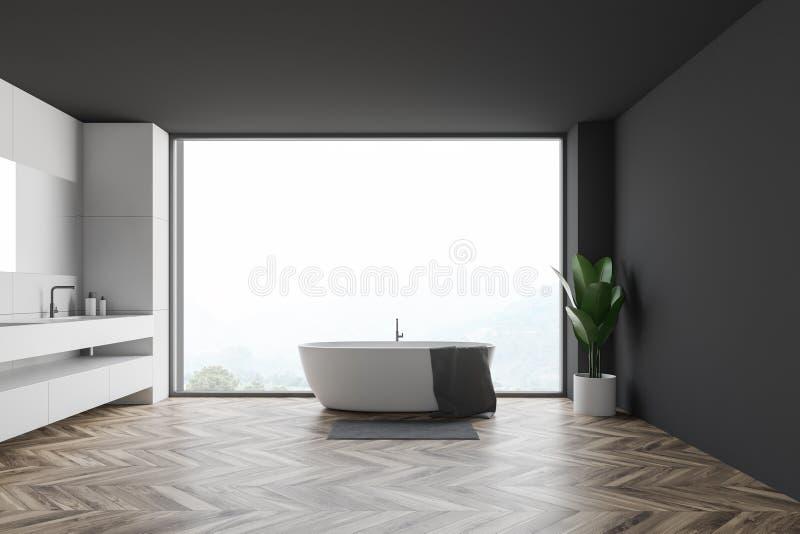 Salle de bains panoramique grise et blanche illustration de vecteur