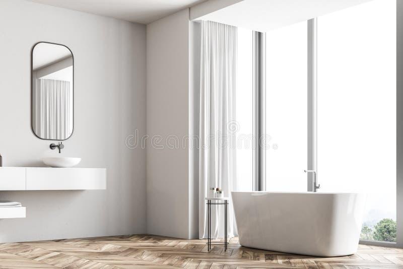 Salle de bains panoramique intérieure, baignoire angulaire, évier illustration stock