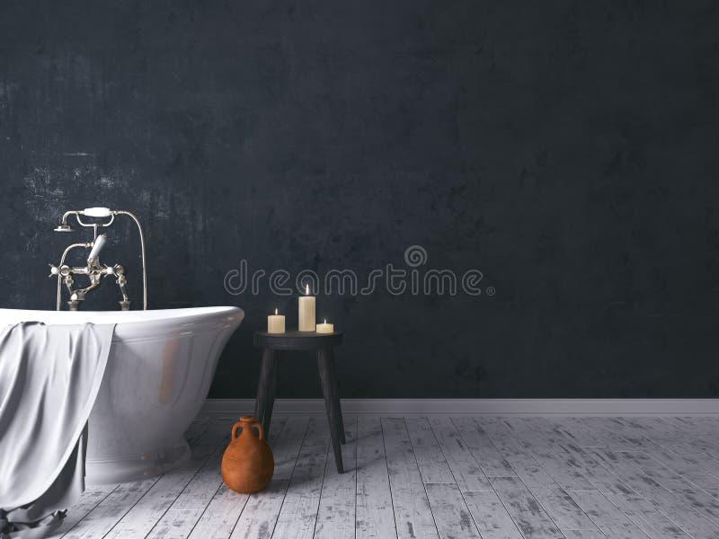 Salle de bains rustique avec le vieux tabouret en bois images libres de droits
