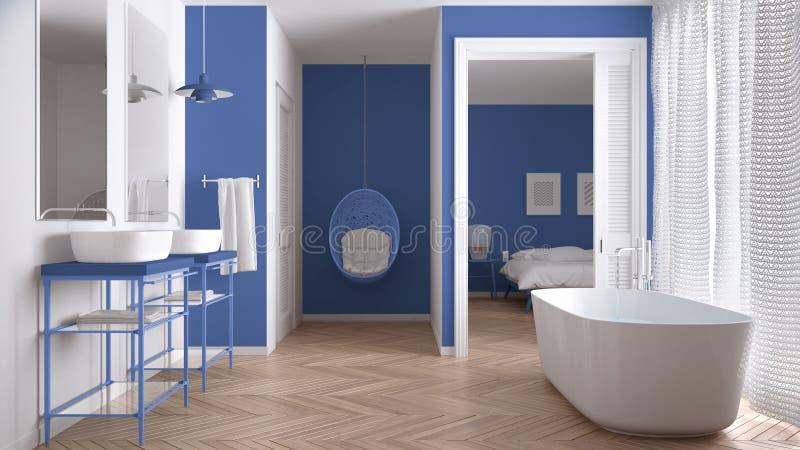 Salle de bains scandinave blanche et bleue minimaliste avec la chambre à coucher image libre de droits