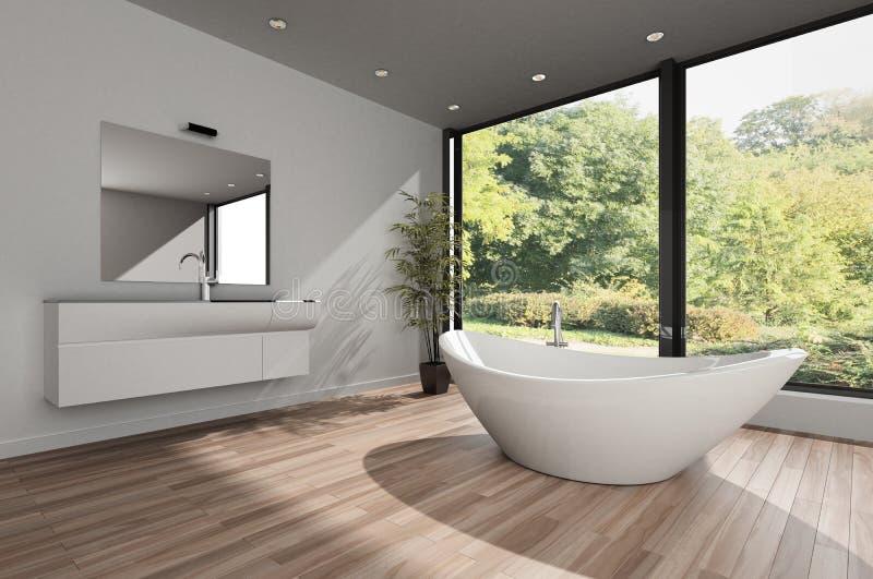 Salle de bains spacieuse avec la baignoire blanche illustration de vecteur