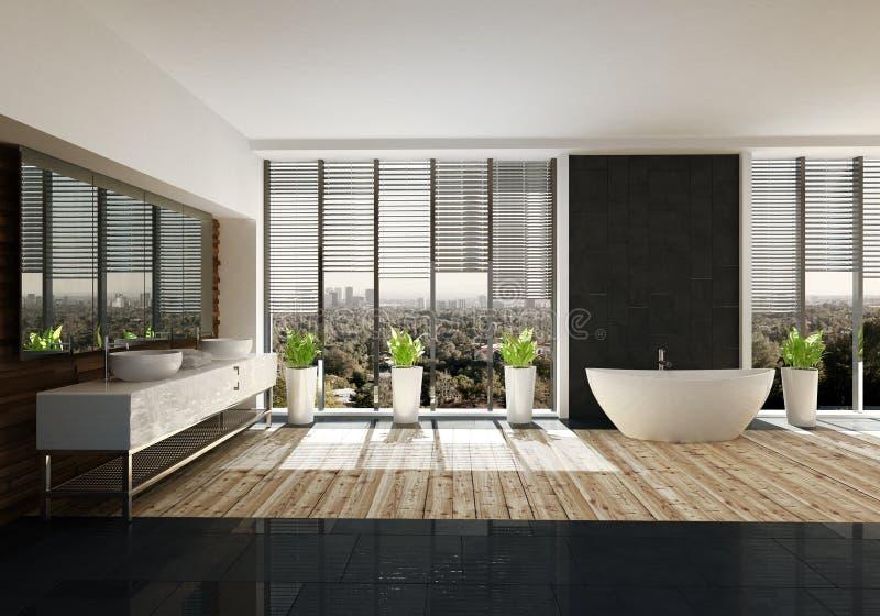 Salle de bains spacieuse avec le décor élégant illustration de vecteur
