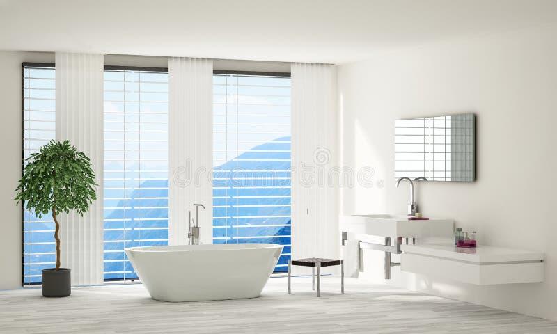 Salle de bains spacieuse minimaliste moderne lumineuse illustration stock