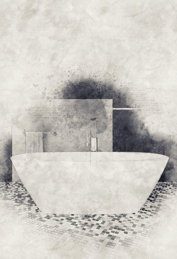 Salle de bains texturisée d'effet de peinture et de croquis illustration libre de droits