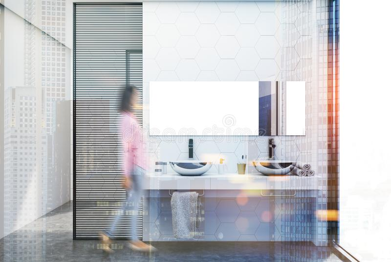 Salle de bains de tuile d'hexagone, tache floue de double évier illustration de vecteur
