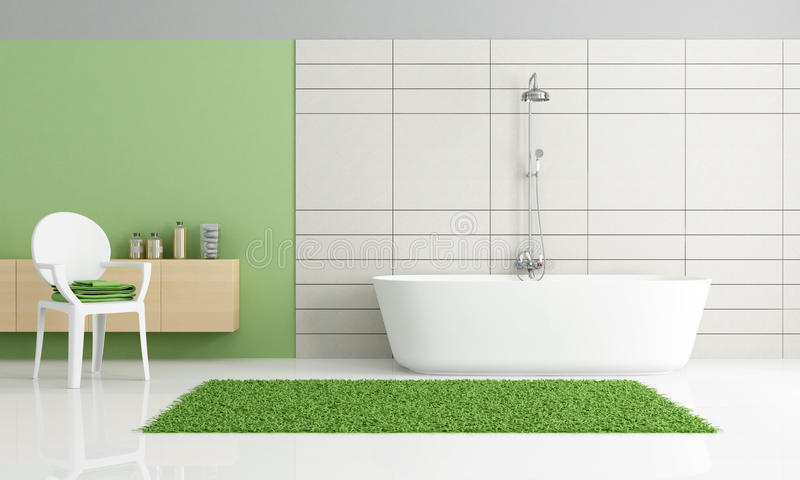 salle de bains verte et blanche minimaliste illustration stock illustration du baignoire. Black Bedroom Furniture Sets. Home Design Ideas