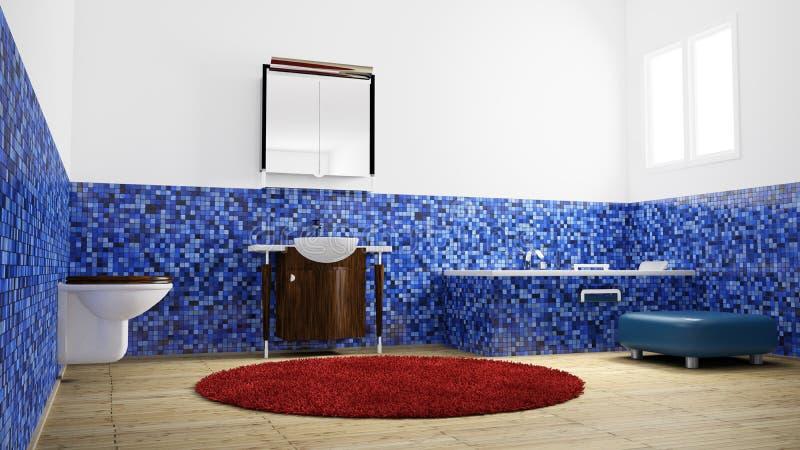 Salle de bains vide d'angle faible illustration stock