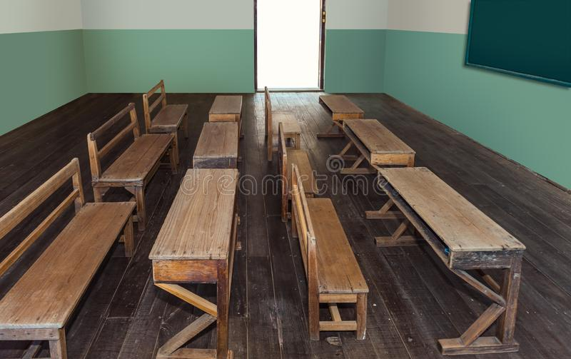 Salle de classe antique à l'école avec des rangées des bureaux en bois vides image libre de droits