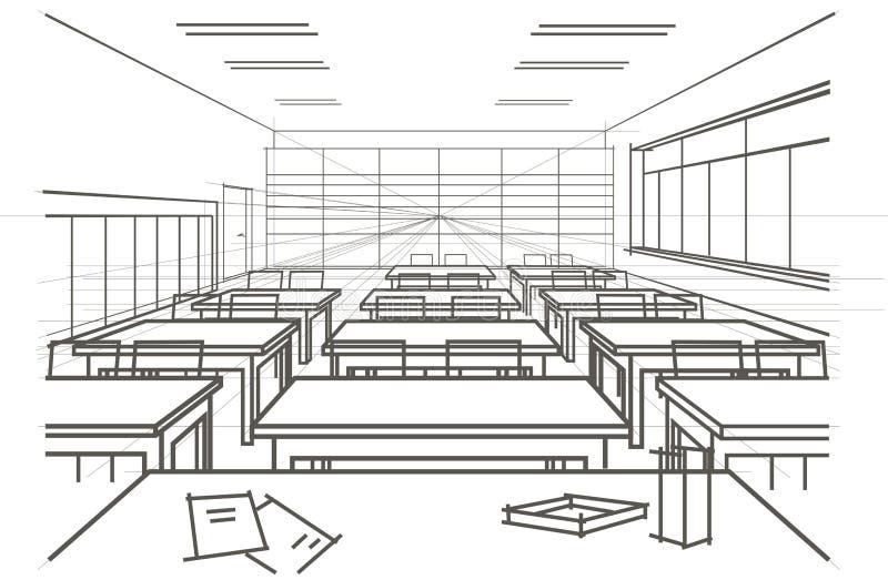 Salle de classe architecturale linéaire d'intérieur de croquis illustration libre de droits