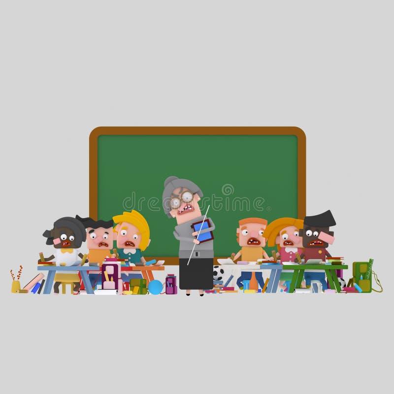 Salle de classe avec le professeur fâché illustration libre de droits