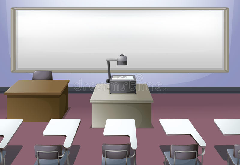 Salle de classe avec le projecteur et les bureaux illustration de vecteur