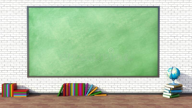 Salle de classe avec le tableau noir vert contre le mur de briques illustration stock
