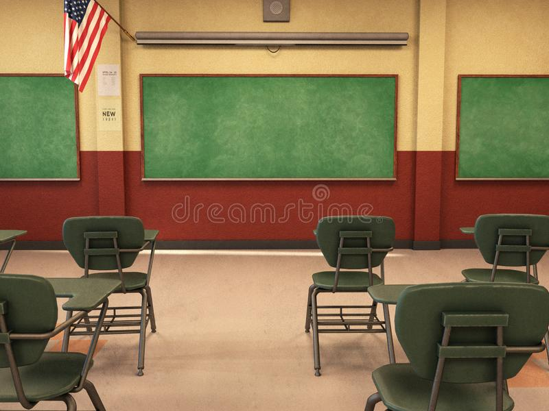 Salle de classe d'école, tableau, bureaux, éducation photo stock