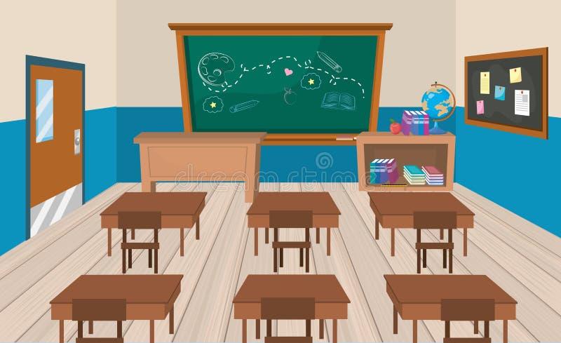 Salle de classe d'éducation avec des bureaux et des livres avec le tableau noir illustration stock