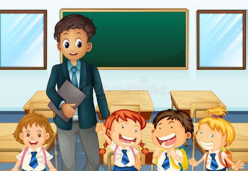 Salle de classe d'And Students In de professeur illustration de vecteur