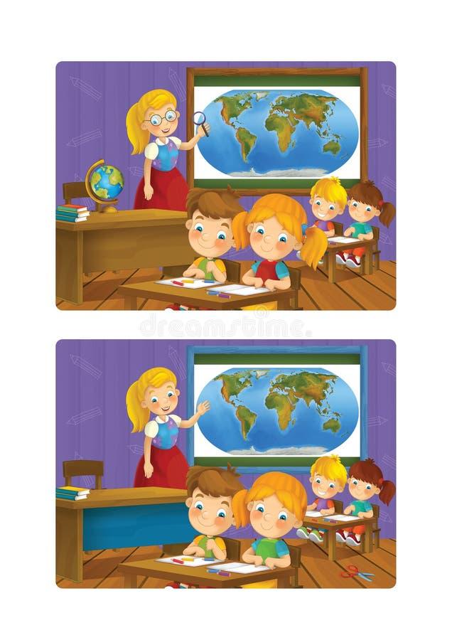 Salle de classe de bande dessinée - professeur et enfants illustration de vecteur