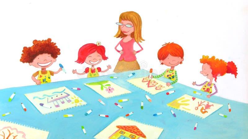 Salle de classe de jardin d'enfants illustration stock