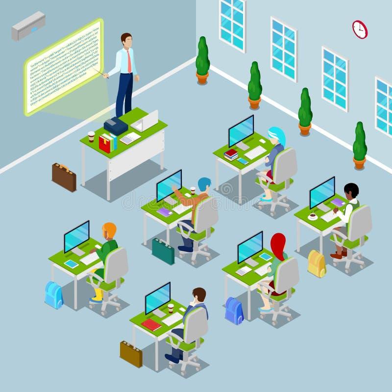 Salle de classe isométrique d'ordinateur avec le professeur et les étudiants illustration libre de droits