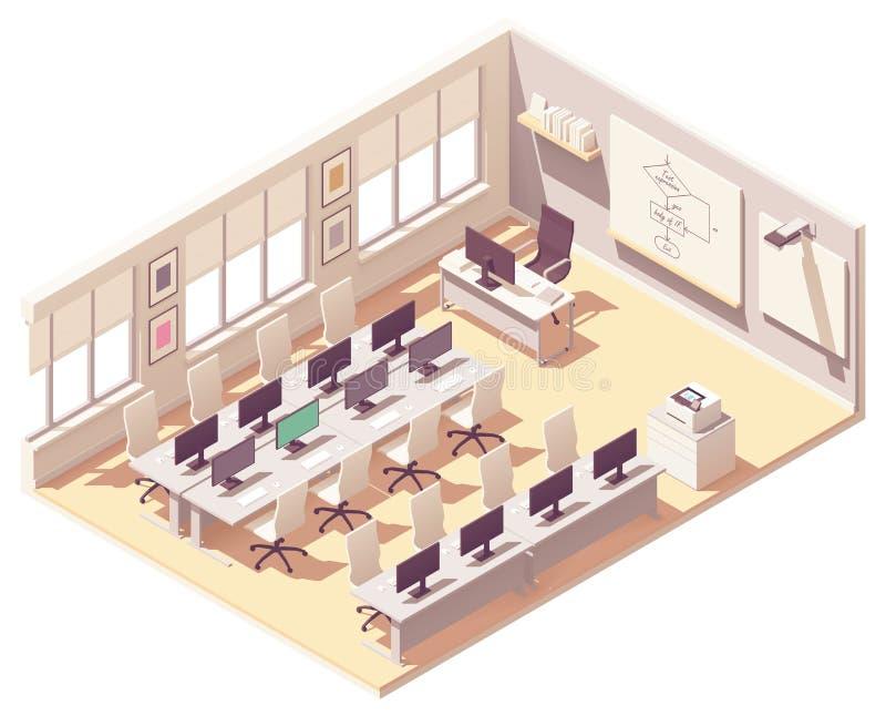 Salle de classe isométrique de laboratoire d'ordinateur de vecteur illustration stock