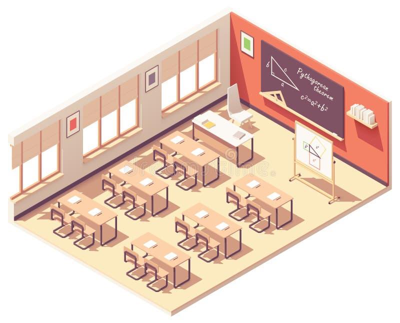 Salle de classe isométrique de mathématiques d'école de vecteur illustration stock