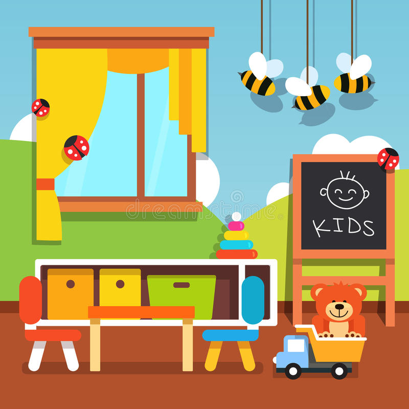 Salle de classe préscolaire de jardin d'enfants avec des jouets illustration libre de droits