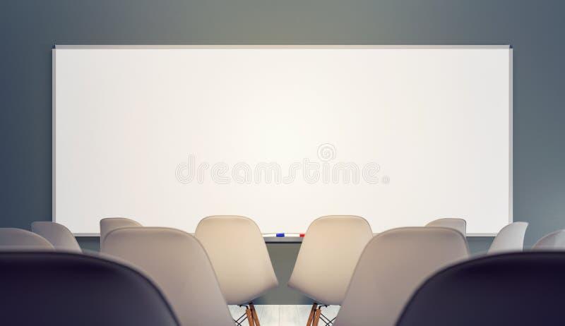 Salle de classe vide avec les chaises et le grand conseil blanc propre illustration stock