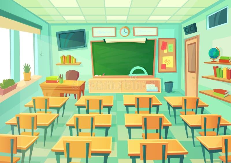 Salle de classe vide de bande dessinée Pièce d'école avec le tableau et les bureaux de classe Vecteur mathématique moderne d'inté illustration de vecteur