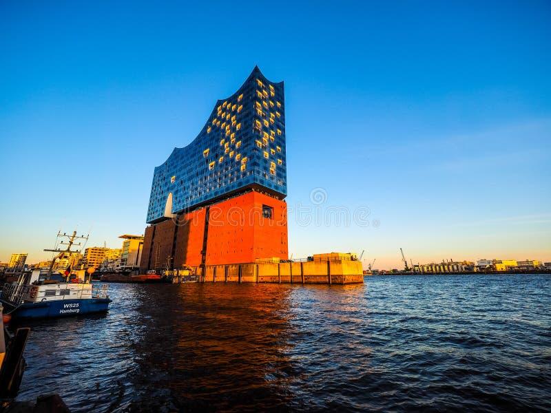 Salle de concert d'Elbphilharmonie dans le hdr de Hambourg photo stock