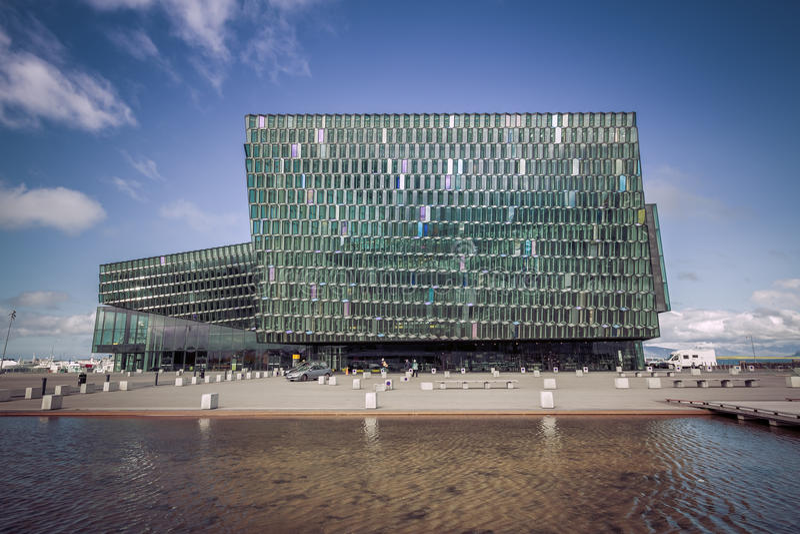 Salle de concert de Harpa à Reykjavik, Islande image libre de droits