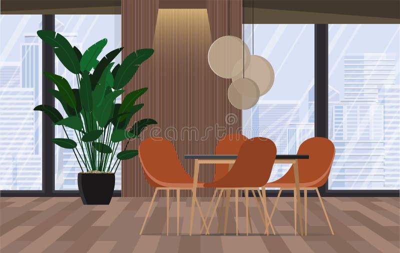 Salle de conférence Bureau moderne avec des fenêtres et la vue de ville Illustration de vecteur illustration de vecteur