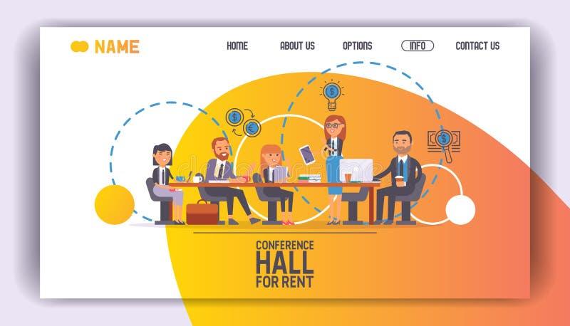 Salle de conférences pour l'illustration de vecteur de page d'atterrissage de pièce de séminaire de loyer Personnes s'exerçantes  illustration stock
