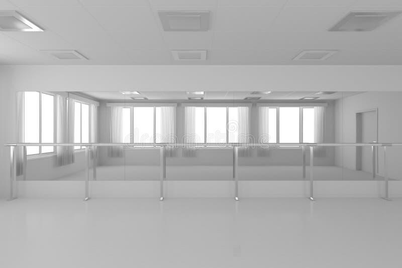 Salle de danse vide blanche de formation avec les murs plats, plancher blanc et illustration de vecteur