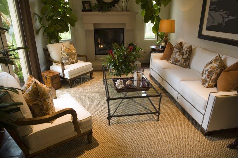 Salle de séjour à la maison de luxe. photographie stock