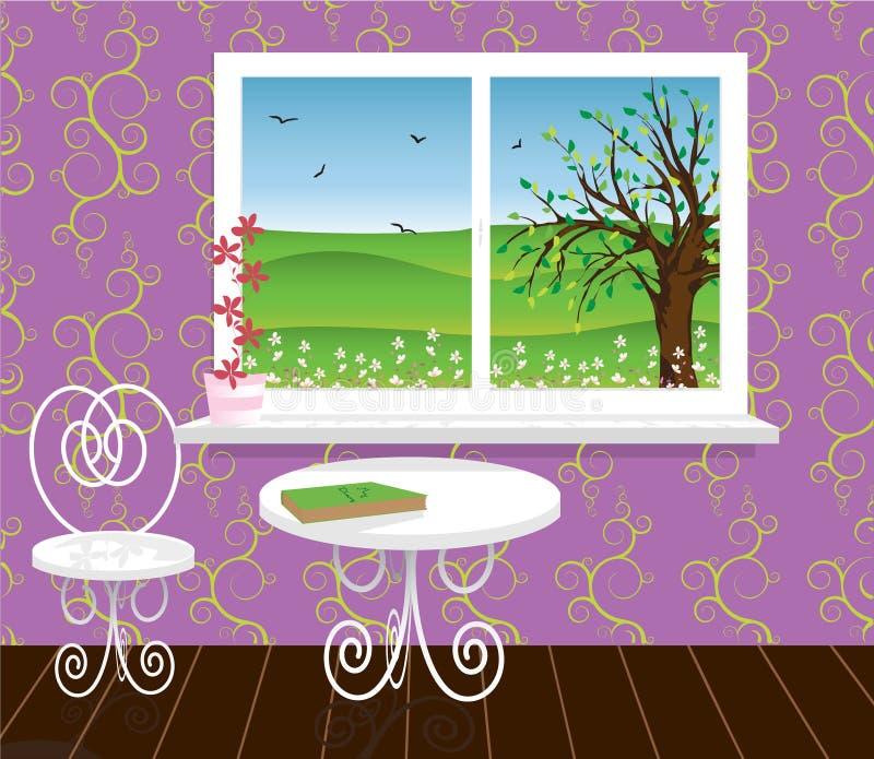 Salle de séjour avec le bel horizontal illustration libre de droits
