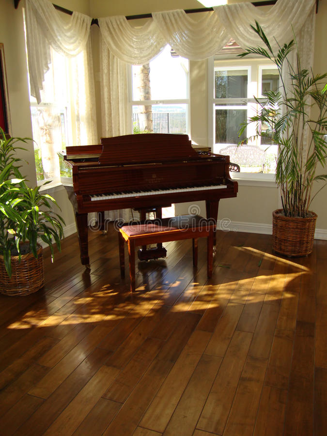 Salle de séjour avec le piano images libres de droits