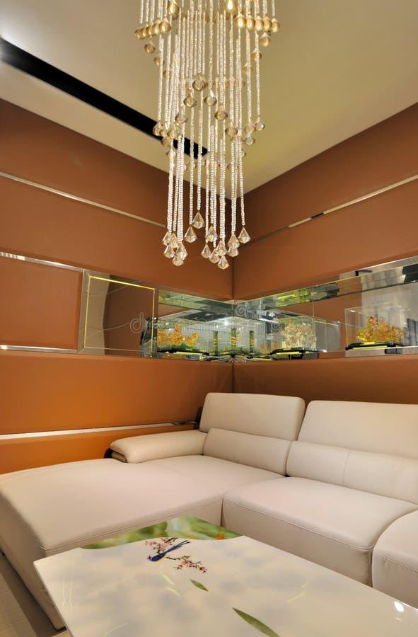 Salle de séjour avec le sofa en cuir photographie stock