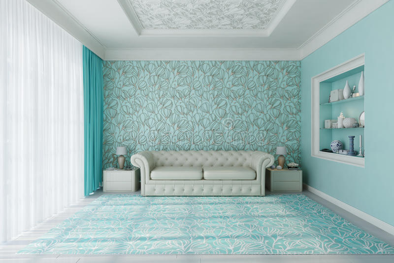 Salle de séjour bleue photographie stock